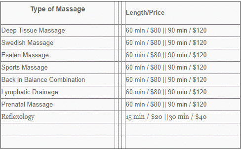 massage hours and prices